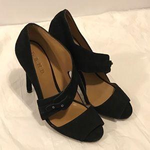 L.A.M.B suede peeptoe stilleto heels 7.5 black